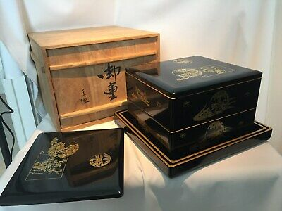 Japanese Wooden Lacquer ware Makie Vtg FOOD BOXES Jubako Tray Obon Tea Ceremony
