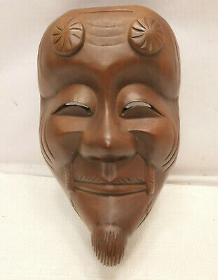 Vintage Mask Wooden Japanese Hand Made Theatrical Display Lucky God  #238