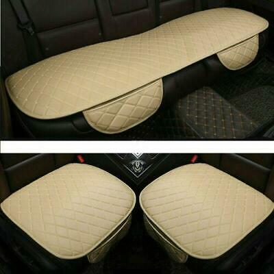 3Pc Beige Universal Front & Rear Car Auto Seat Cover Protector Mat Cushion Pad