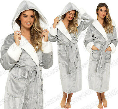 New Ladies Soft Flannel Fleece Hooded Dressing Gown Bathrobe Sizes 8-22