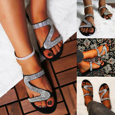 Womens Crystal Sparkly Slippers Sandals Casual Party Flip Flops Flats Shoes Size