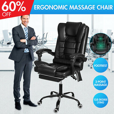 135° Office Chair Gaming Leather Massage Recliner Computer Seat Stool Footrest