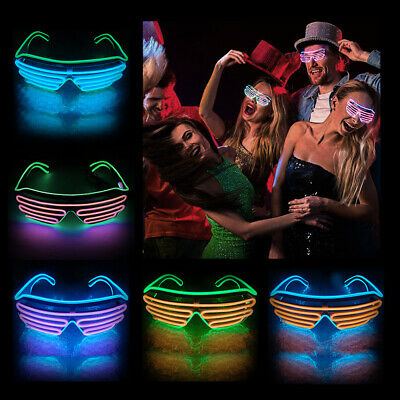 Fashion EL Glasses Wire Neon LED Light Up Shutter Shaped Glow Party Sunglasses