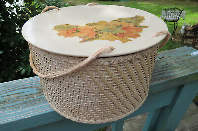 1940's era Vintage Princess round wicker sewing basket,pale yellow,floral decal