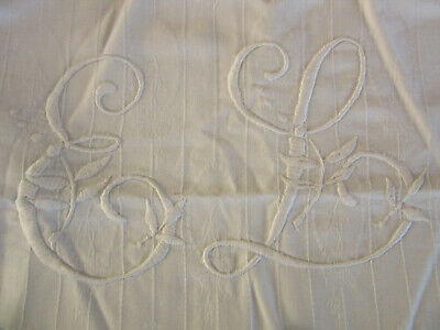 antique pillowcase bed cover eiderdown quilt monogram embroided damask linen
