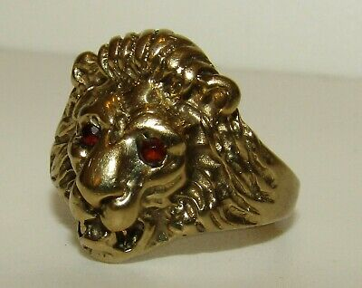 Rare, Fabulous, Antique Victorian 9 Ct Gold Lion Head Ring With Fine Garnets