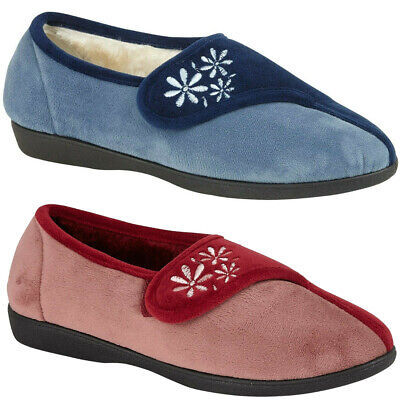 Ladies Comfort Moccasin Textile Fur Lined Slip On  Mules Warm Winter Women Shoes