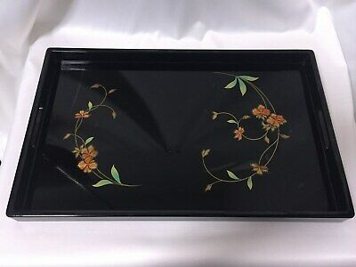 Japanese Wooden Lacquer ware TRAY/plate Senchabon flower pattern Tea Ceremony