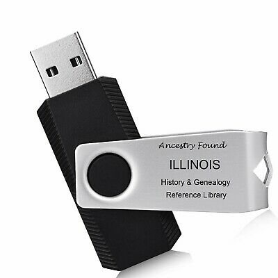 ILLINOIS - History & Genealogy -206 old Books on FLASH DRIVE  County Family IL