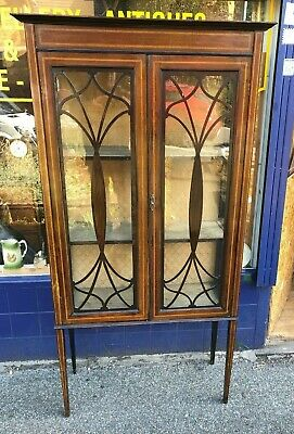 Antique Victorian Inlaid Mahogany Curio And Collectable Display Cabinet With Key