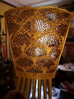 INCREDIBLE HUGE ART NOUVEAU c1900 CARVED BUFFALO HORN HAIR COMB CARROT FLOWERS