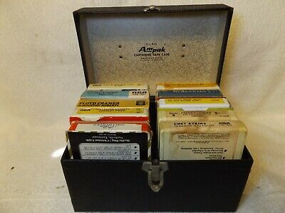 Vintage 8 Track Tapes 10 Assorted Tapes In Carrying Case Various Artists