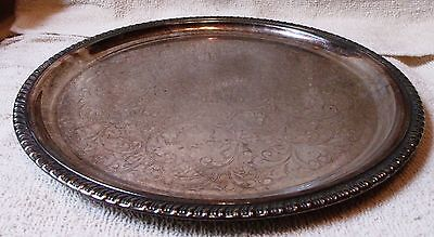 """Vintage Sterling Silver Plated Platter 12 1/2"""" Wide Very Nice Great Patina"""
