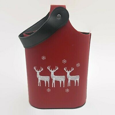 Red Double Bottle Wine Carrier Caddy Reindeer Design