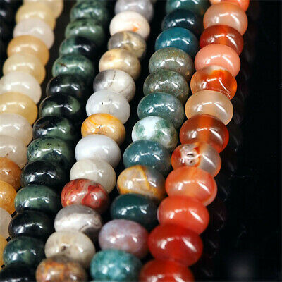 1pcs Natural Crystal Agate Pine Stone Abacus Beads Loose Beads 15 inches