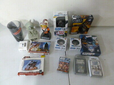 Assorted Star Wars Lot with Puzzles, Marble Sets, Card Games, Bobblehead