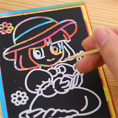 10pcs 9.5*13CM Small Size Kids Scraping Painting Educational Toy For Children EC
