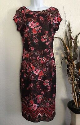 Beige By Eci  Size 6 Black/Multi-Color Floral Print Cap Sleeve Midi Scuba Dress