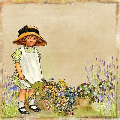 """perfect 30x30 oil painting handpainted on canvas """"a little girl,flowers""""1440"""