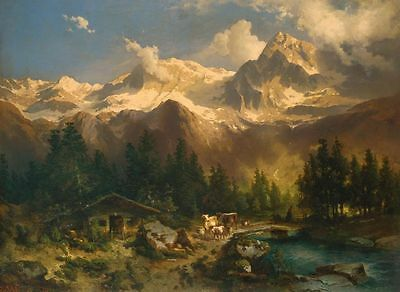 "oil painting handpainted on canvas ""Rocky Mountain Landscape and Animals""N8388"
