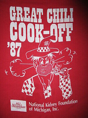 vtg 1980s GREAT CHILI COOK OFF T SHIRT Old Milwaukee Beer Spicy Hot Hillbilly LG