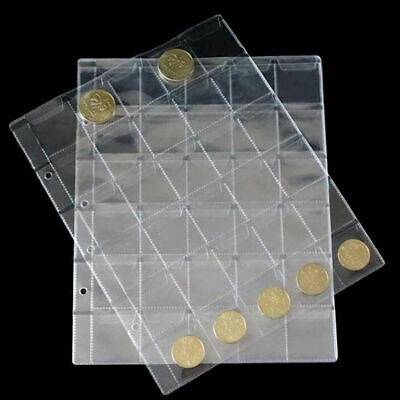 30 Pockets Classic Coin Holders Sheets for Storage Collection Album Clear New