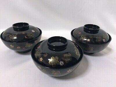 Japanese Lacquer Ware Bowl Lidded Yamanaka lacquerware Cherry Blossoms Vintage