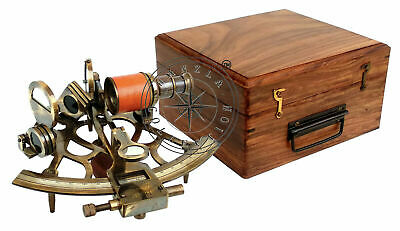 """8"""" Heavy Brass Antique Sextant With Wooden Box Maritime Nautical Ship Astrolabe"""