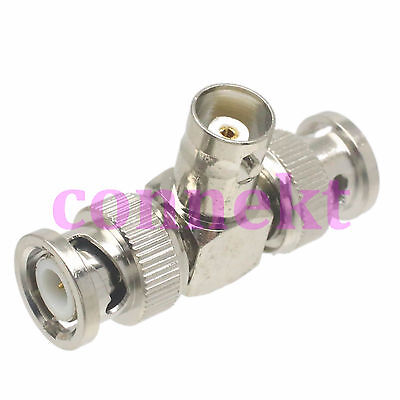 1x BNC female to two BNC male triple T in series adapter connector 1F2M splitter
