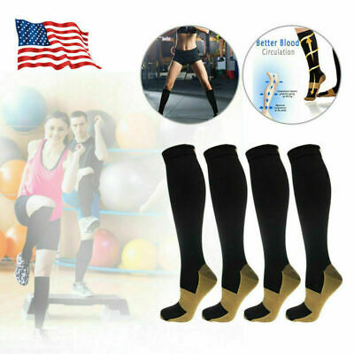 2019 For 4 Pairs Copper Energy Knee High Compression Socks, SM L/XL XXL New