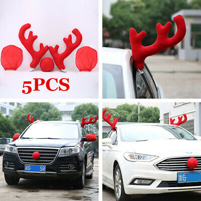 5pcs/set Red Reindeer Antlers Nose Christmas Holiday Decoration Fit For Car SUV