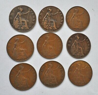 Date Run Of 9 George V Pennys, 1911 To 1936 British Coins Mostly Vf-Ef