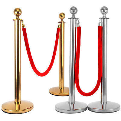 2pcs Queue Barrier Posts Crowd Control Security Gold/Sliver Stanchion& 1.5m Rope