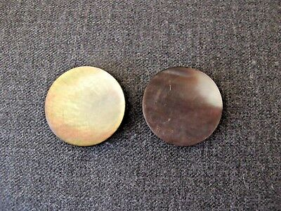 2 Antique Brownish Mop Mother Of Pearl Rounded Buttons Metal Shank