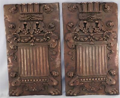 Pair Antique Bronze Metal Art Nouveau Architectural Plaques~Columns~Goats Head~