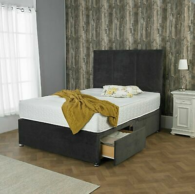 MEMORY CHENILLE DIVAN BED SET WITH MATTRESS HEADBOARD 3FT 4FT6 Double 5FT