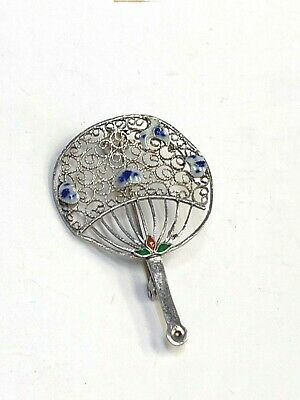 Sterling Silver and Enamel Chinese Export Fan Filigree Pin