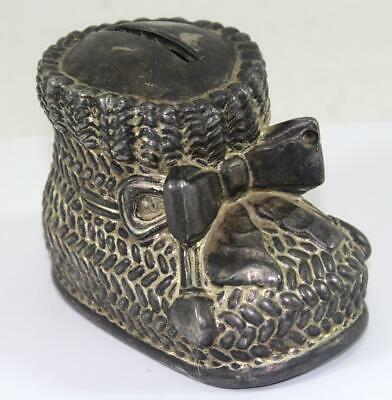 Vintage 1960's Leonard Metal Baby Booty Knit Shoe Coin Bank