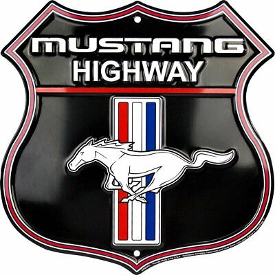 Mustang Highway Sign Shield Embossed Aluminum man cave shop ford
