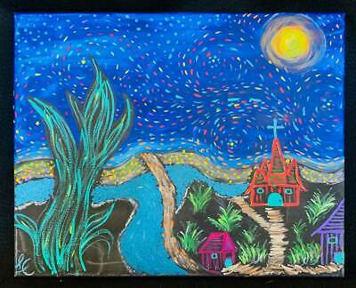 Outsider Folk Art Oil Painting Naive Vintage Starry Night Whimsical Fantasy LC