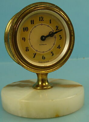 Vtg Art Deco Plymouth Wind Up 8-Day Analog Clock W/ Marble Base Made In USA