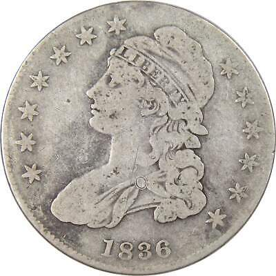 1836/1336 Lettered Edge 50c Capped Bust Silver Half Dollar Coin G Good