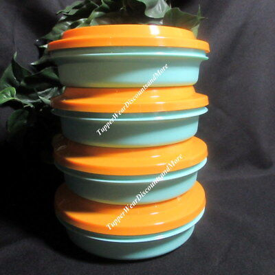 Tupperware New Aqua Blue Seal N Serve Plates / Bowls Set 4 Sheer Orange Seals