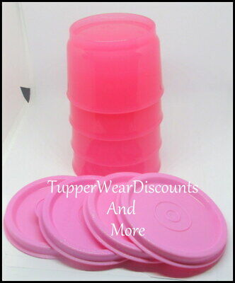 Tupperware New Set of 4 Pink 4 oz Snack Cups Bowls Pastel Pink Seals