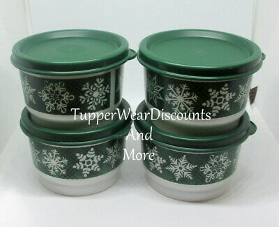 Tupperware New Snow Place Like Home Green Snack Cups Set of 4 Green Seals