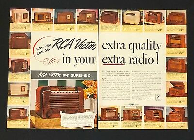 1941 RCA Victor Radio Advertisement 2 Pages Super Six Model 15X Vtg Print AD