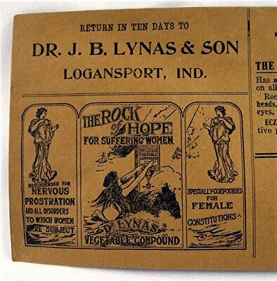 Dr J B Lynas & Son Quack Medicine Envelope Rock Of Hope Ezum Logansport Ind