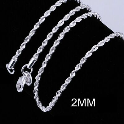Necklace Plated 2MM Italy CHAIN Gold Italian 18K Silver White CUT ROPE DIAMOND