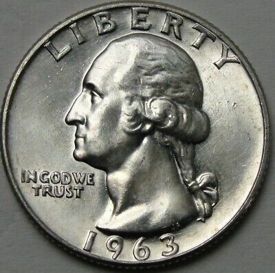 1963 25c Washington Quarter Circulated  90/% Silver