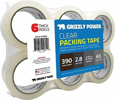 6 Roll Scotch Carton Box Sealing Shipping Packing package Tape 1.88X900 in clear